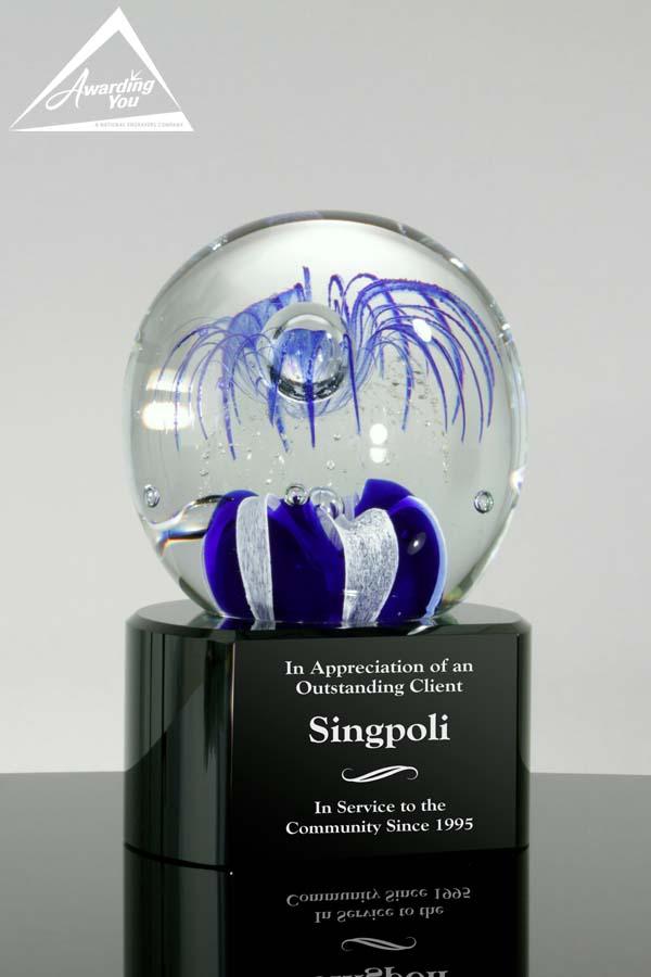 Blue Fireworks Art Glass Award by Awarding You
