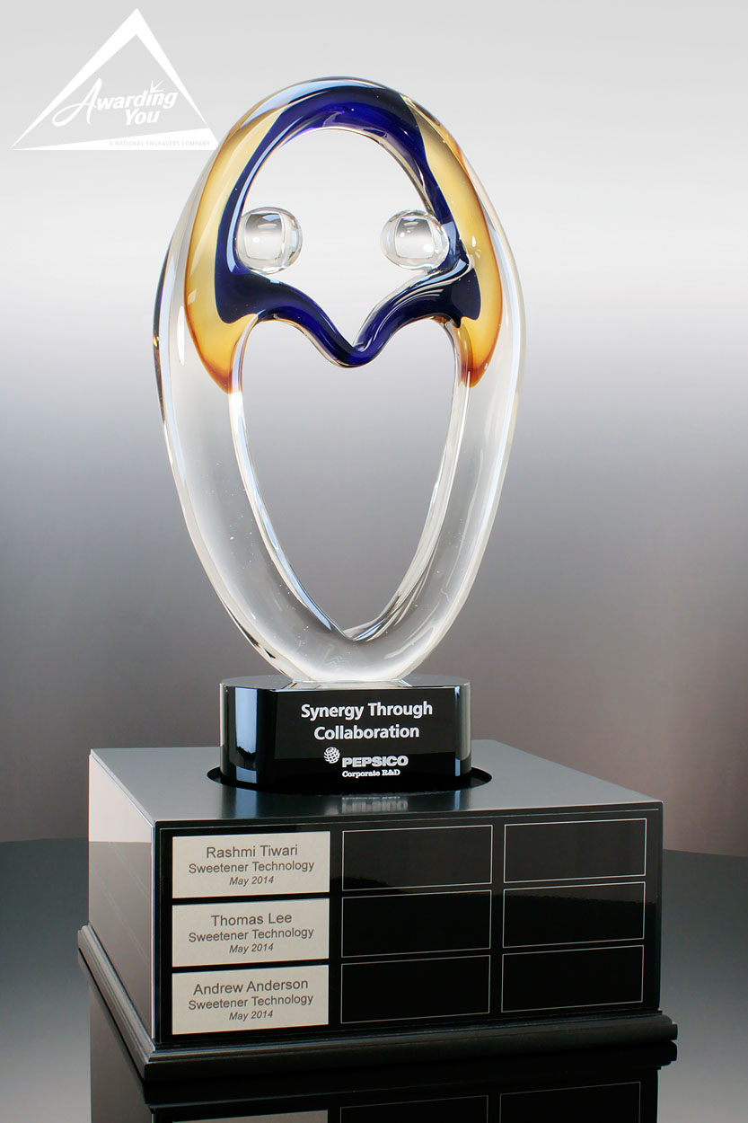 Custom Art Glass Award with Perpetual Base by Awarding You