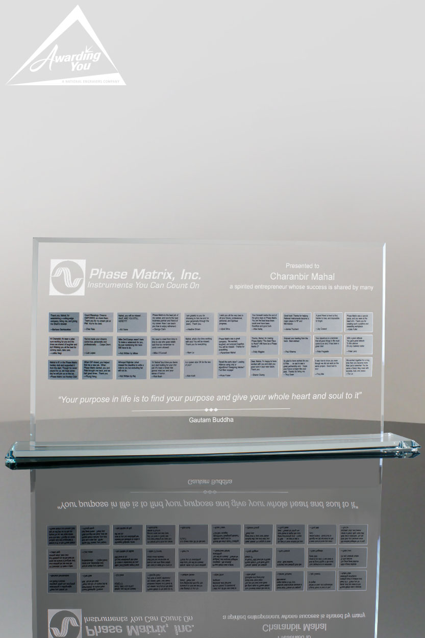 Custom Glass Perpetual Award by Awarding You