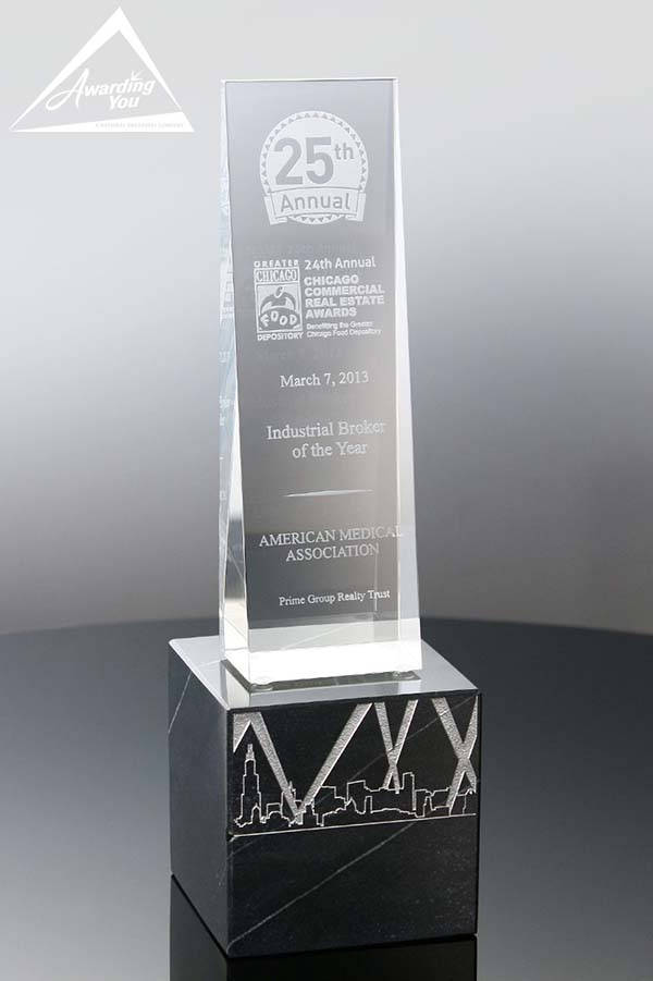Custom Crystal Award with Marble Base by Awarding You