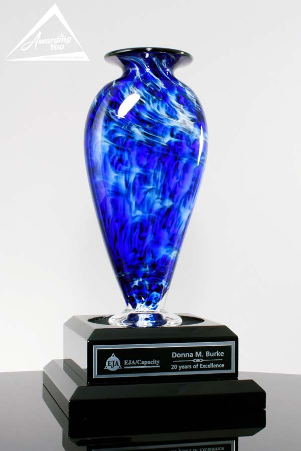Custom Art Glass Vase Award by Awarding You