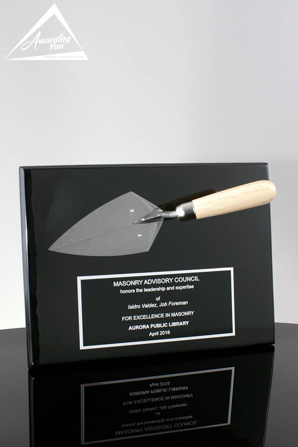 Custom Plaque with Mounted Trowel by Awarding You