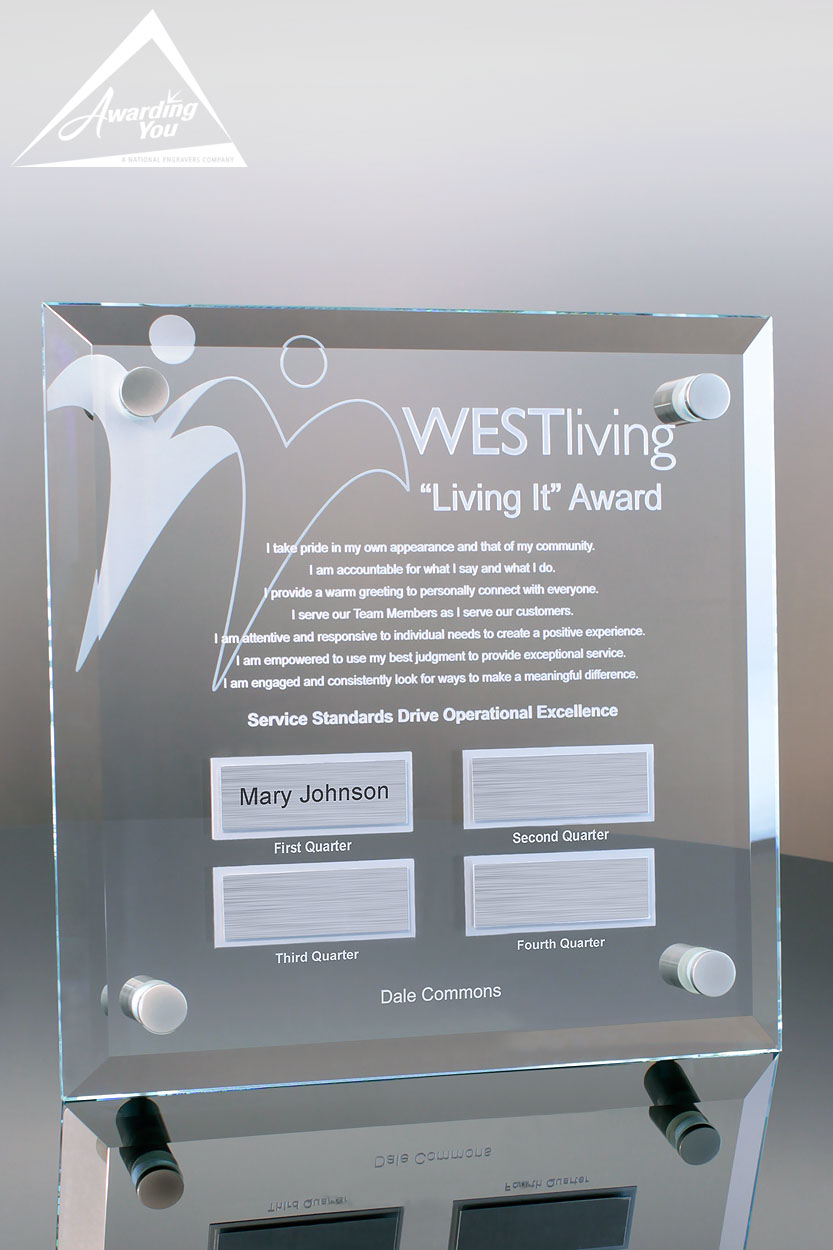 Custom Glass Perpetual Plaque Award