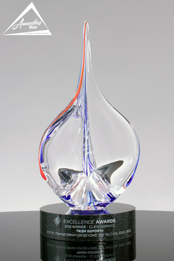 A16. Custom Art Glass Award on Granite Base
