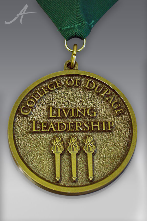 Custom Antique Gold Finish Custom Medallion for the College of Dupage