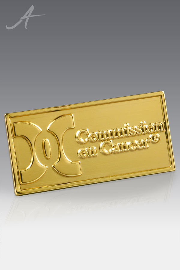 Custom Gold Tone Commission on Cancer Lapel Pin