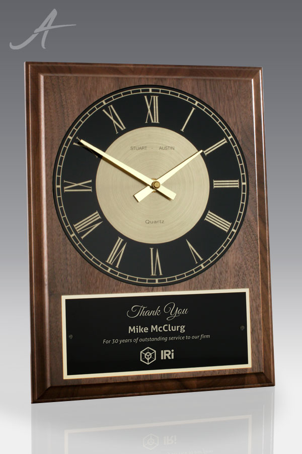 carolina walnut wall clock - front