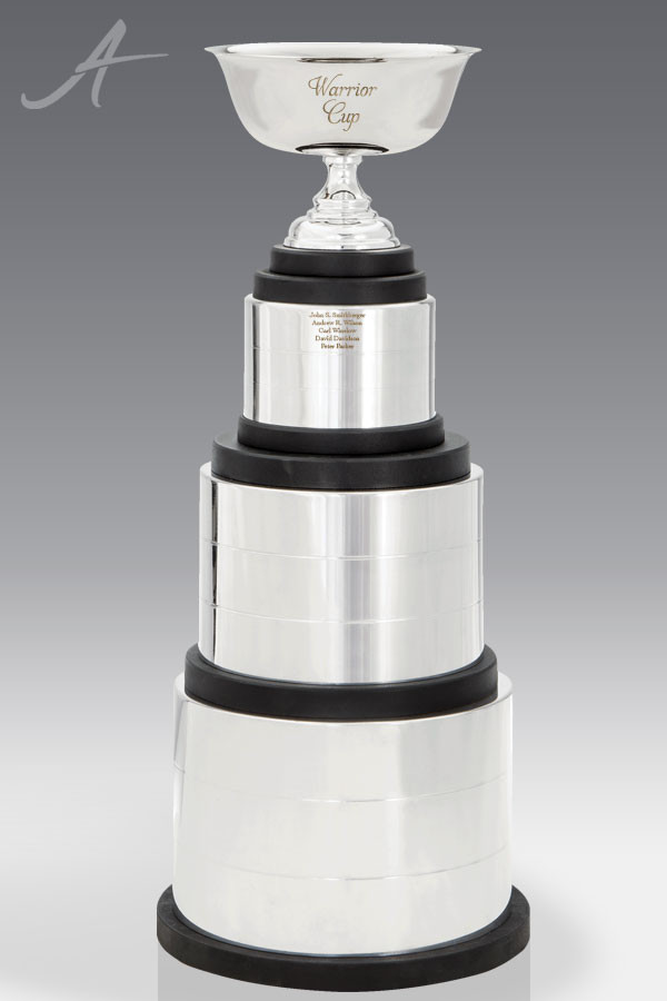 Warrior Stacked Silver Trophy Cup Award