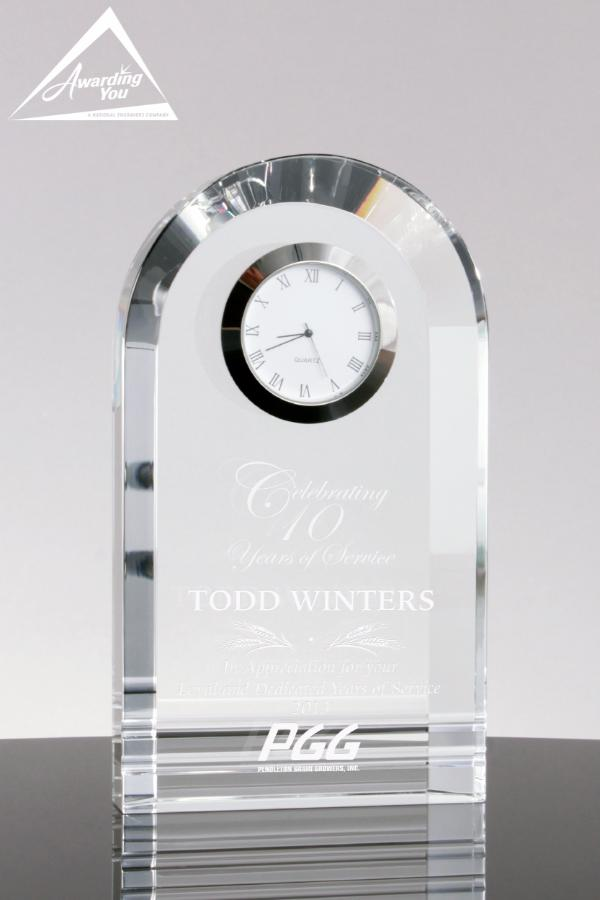 Bell Tower Crystal Clock - Engraving on Award