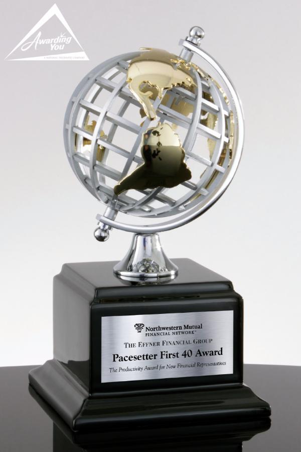 Around the World Spinning Globe Trophy Award