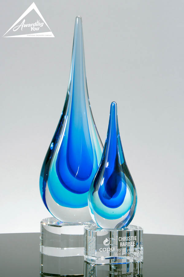 Cobalt Blue Droplet Art Glass Awards