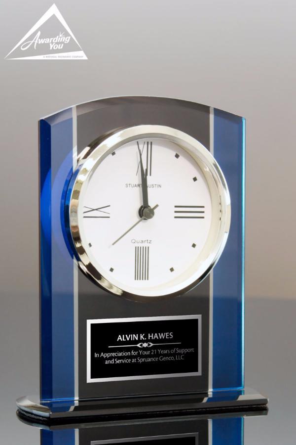 Wellington Blue & Black Clock, Front View