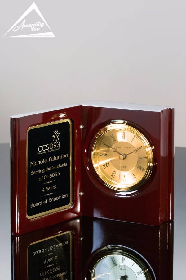 Stanley Rosewood Book Clock, Open View