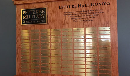 Classic display includes cast bronze plaque attached to an oak panel with engraved copy and engraved brass plates with donor names, empty nameplates can be engraved as donors are added.