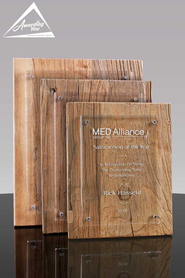 Reclaimed wood plaques are a great way to award sustainability