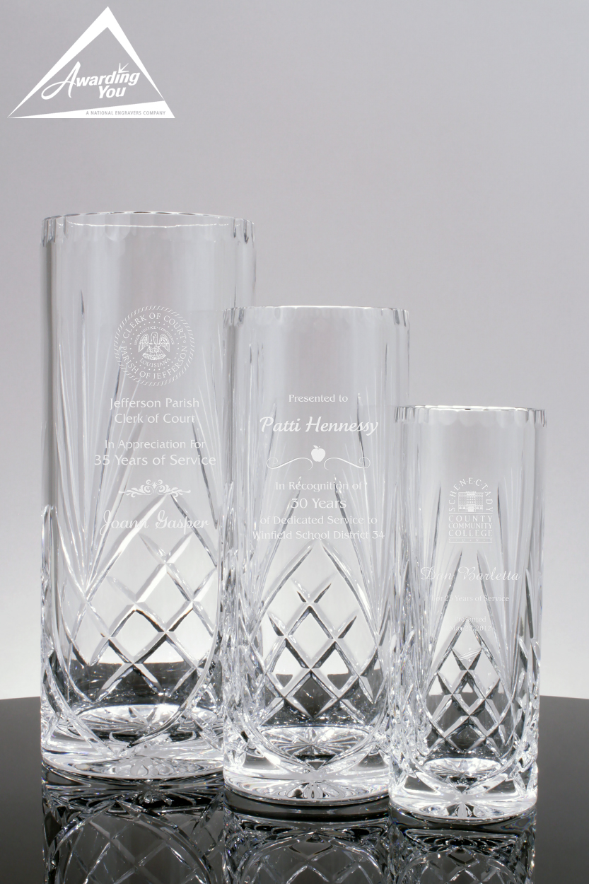 Crystal Vases are a very functional way to recognize years of service