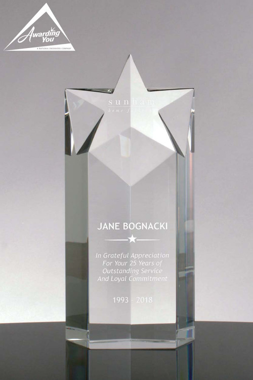 Star Performance Crystal Tower Award 9 Quot Tall Engraved