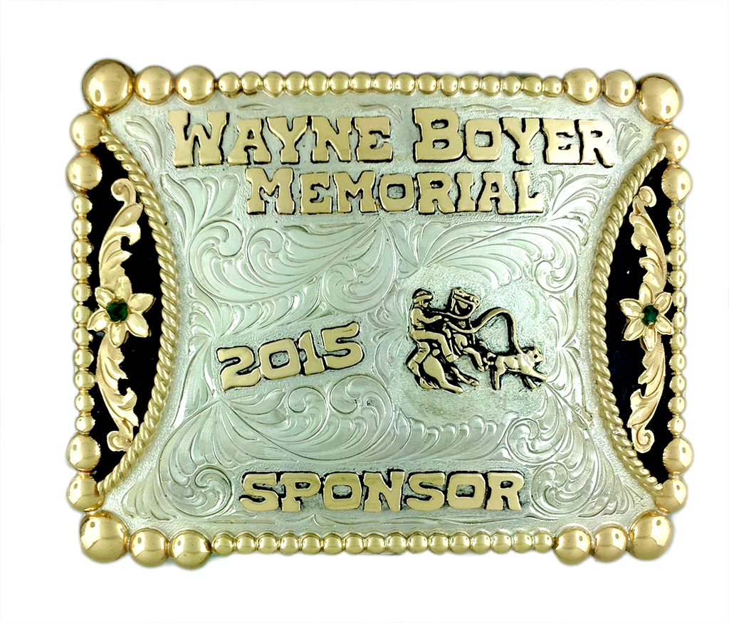 This is a calf roping buckle that is done for the Wayne Boyer Memorial sponsor.