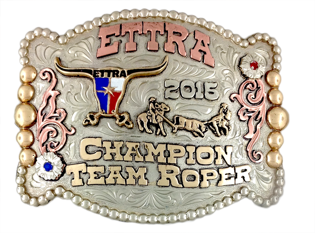 East Texas Team Roping buckle with our longer team roper
