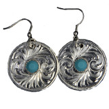 Ready to Ship Turquoise and Silver Circle Earrings
