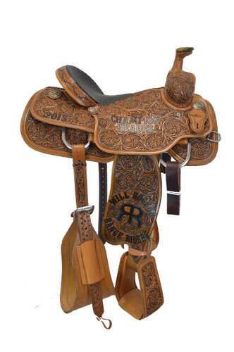 Your looking at a full tooled team roping saddle with a ostrich skin bicycle seat, floral tool patter,  and tooled stirrups