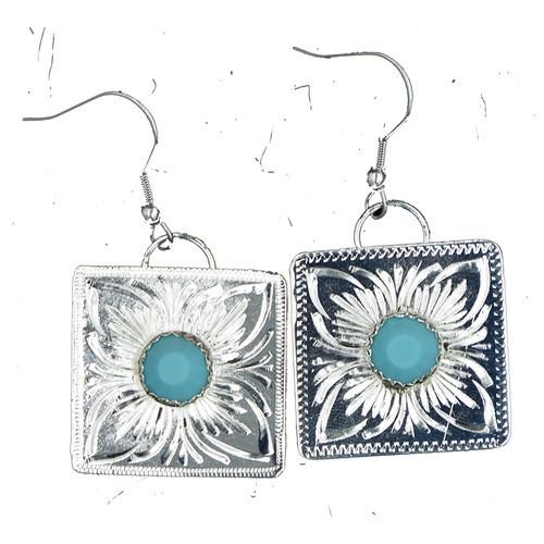 Ready to Ship Turquoise and Silver Square Earrings