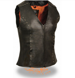 WOMENS MOTORCYCLE BLACK LEATHER VEST w// FRONT SNAP CLOSURE /& POCKETS SA61