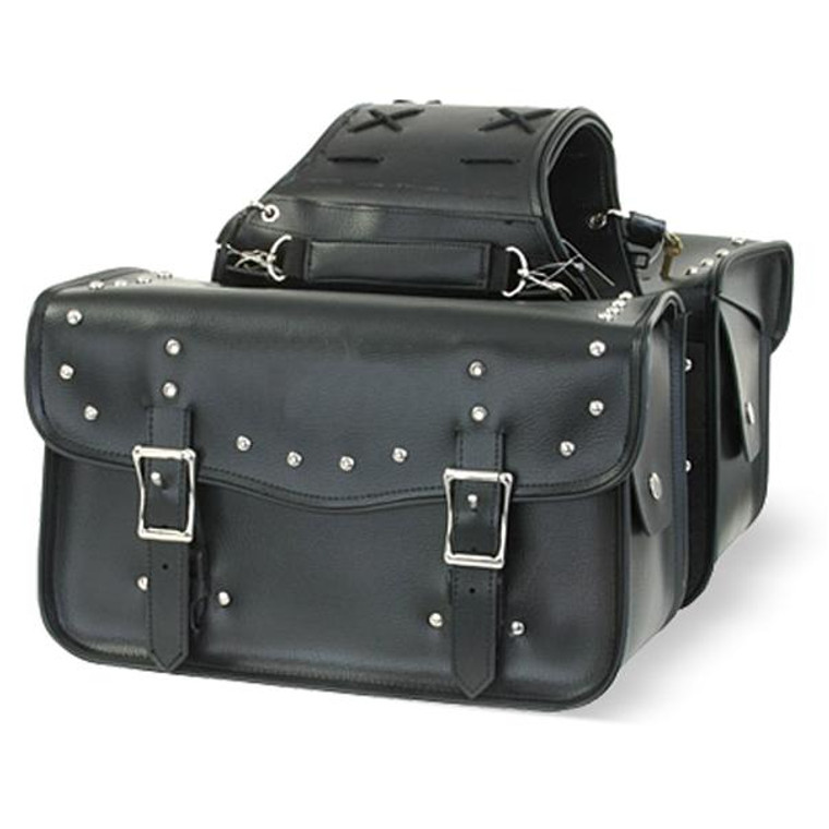 """14"""" W WATERPROOF STUDDED SADDLEBAGS ZIP-OFF 2PC - D19"""