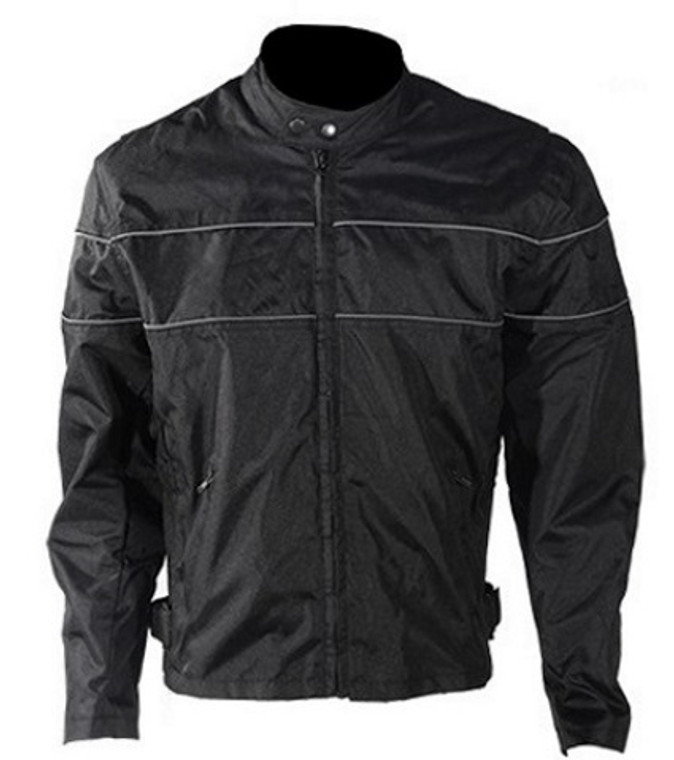 MENS MOTORCYCLE REFLECTIVE STRIPES SPORTS JACKET w/ ZIP-OUT LINING VENTED - DA24