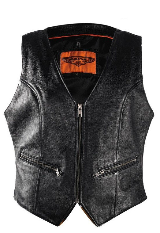 WOMENS MOTORCYCLE LEATHER VEST w / LACES & GUN POCKET - DA55
