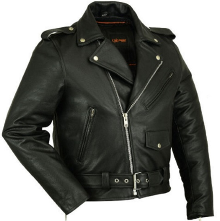 MOTORCYCLE PREMIUM LEATHER JACKET w/ZIPPER CONCEAL POCKETS WAIST BELT - MA1