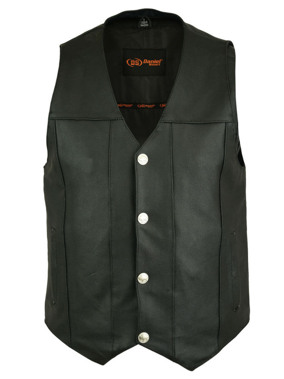 MENS MC CLUB LEATHER VEST w/ CONCEAL CARRY POCKETS - MA9