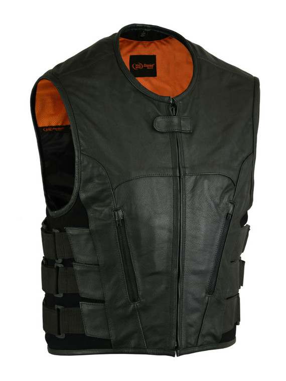 MENS MOTORCYCLE BLACK LEATHER VEST SWAT STYLE - MA11
