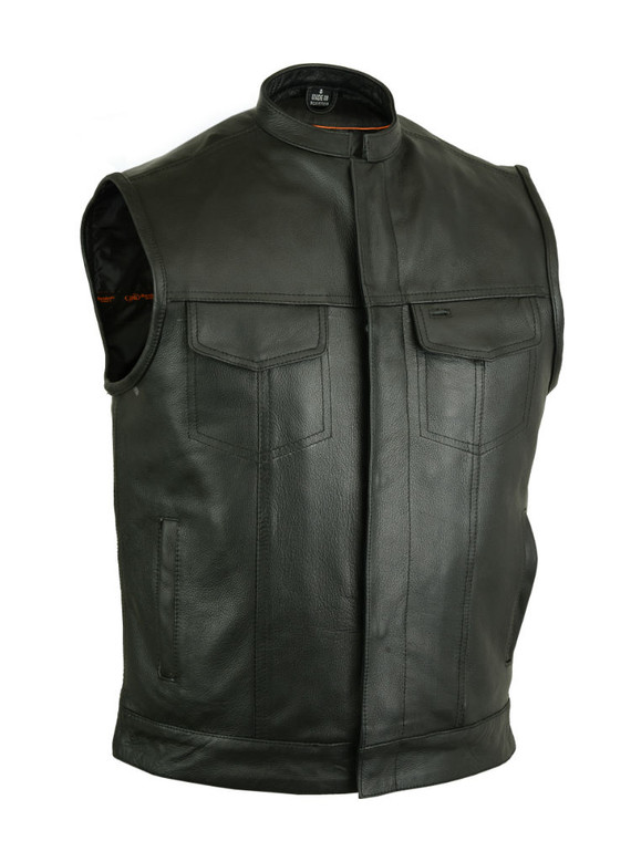 MENS LEATHER MC CLUB BIKER VEST w/ GUN POCKETS - MA15