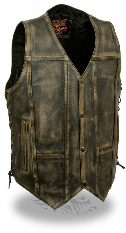 MENS 10 POCKET DISTRESSED BROWN LEATHER VEST LACE SIDES - SA41