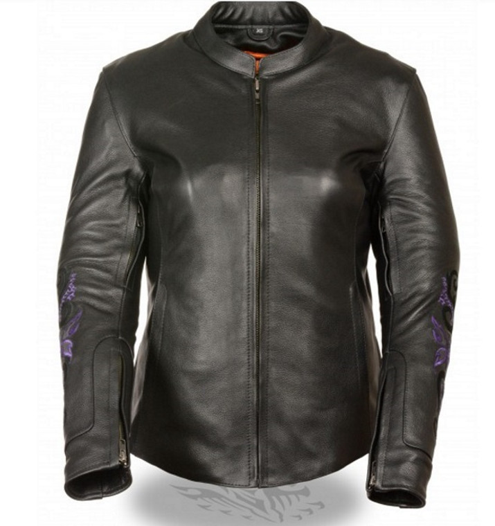 WOMENS MOTORCYCLE JACKET w/ PURPLE BUTTERFLY & STAR DETAILING  - SA50