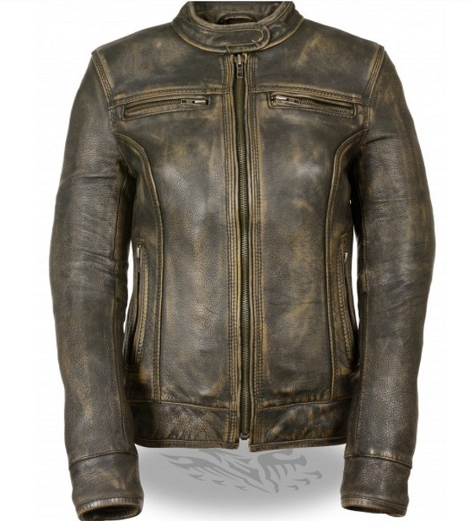 WOMENS LEATHER BROWN DISTRESSED SCOOTER JACKET - SA48