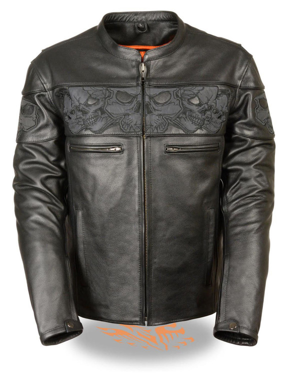 MENS LEATHER CROSSOVER SCOOTER JACKET w/ REFLECTIVE SKULLS - SA52