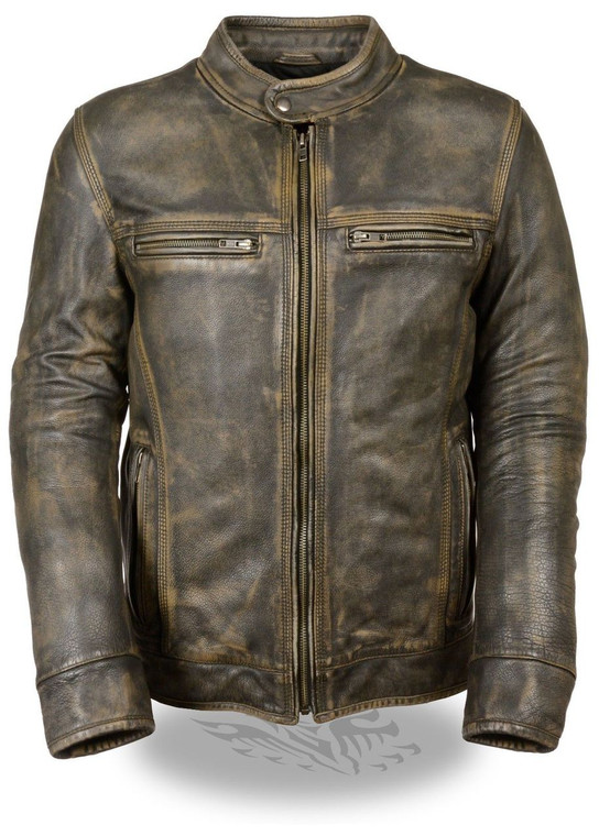MENS MOTORCYCLE SCOOTER DISTRESSED BROWN VENTED LEATHER JACKET - SA66