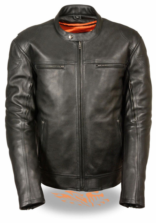 MENS MOTORCYCLE SCOOTER LONGER BLACK VENTED LEATHER JACKET - SA67