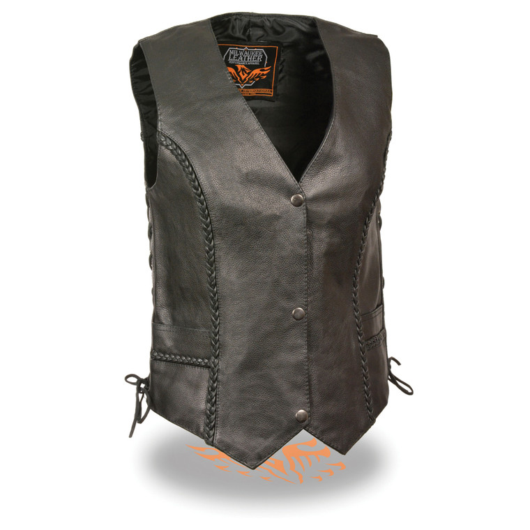 MILWAUKEE LEATHER WOMENS BUTTER SOFT NAKED COWHIDE BRAIDED LEATHER VEST - SAGL