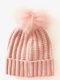 Linda Richards Foldover Pom Hat, Petal Pink