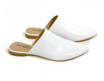 Raleigh Label White Leather Slide