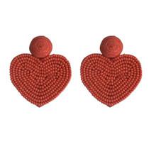 Heart Earrings, Red