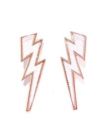 Mignonne Gavigan Lightning Bolt Earring, Rose Quartz