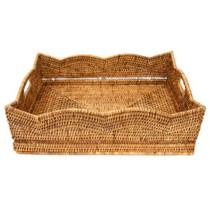 Artifacts Rattan Scallop Basket, Honey Brown