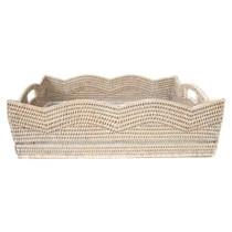 Artifacts Rattan Scallop Basket, White Wash