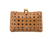Serpui Charlotte Clutch, Woven Leather