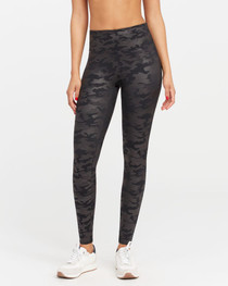 Spanx Faux Leather Camo Leggings, Black