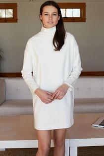 Emerson Fry Edie Turtleneck Dress, Ivory